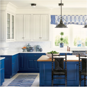 kitchen-design-in-smyrna-ga-cobalt-blue-base-cabinets-ivory-top-cabinets-butcher-block-island