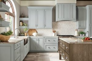 kitchen-remodel-in-Smyrna-ga-kraftmaid-seafoam-blue-maple-cabinets-kitchen-island